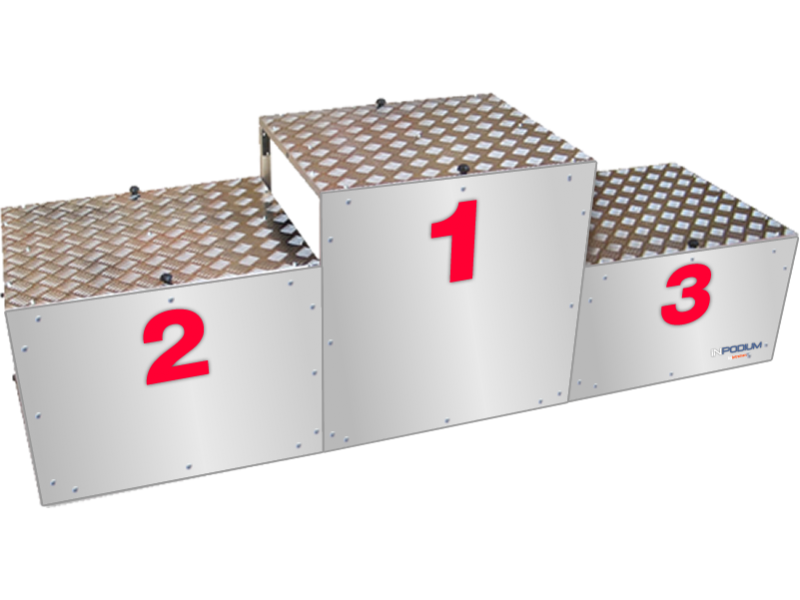 inpodium the brifecase winners podium with red numbers on white