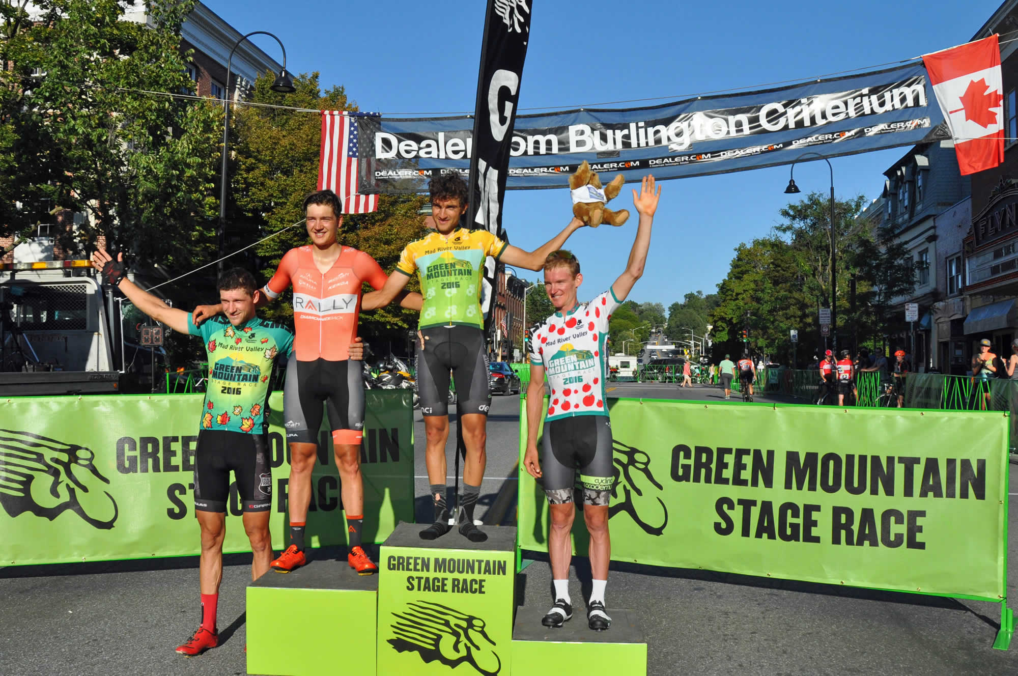 Awards ceremony with Inpodium, the podium of awarding prizes, in the Green Mountain Stage Race USA